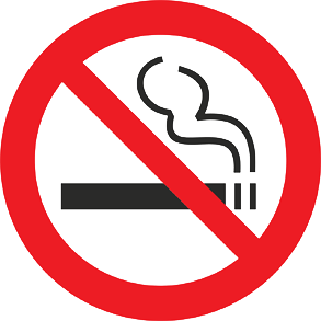 Red and black image of a no-smoking symbol