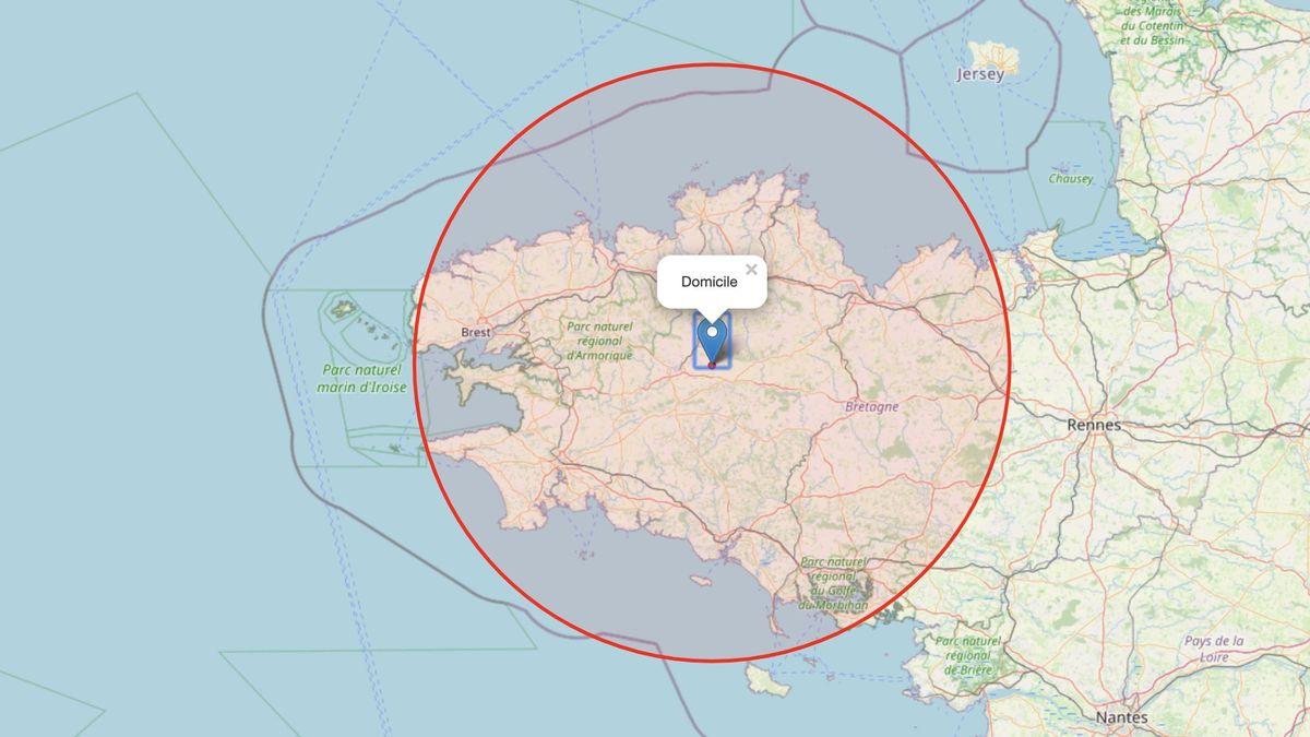 tracez votre zone des 100 km autour de votre residence en bretagne