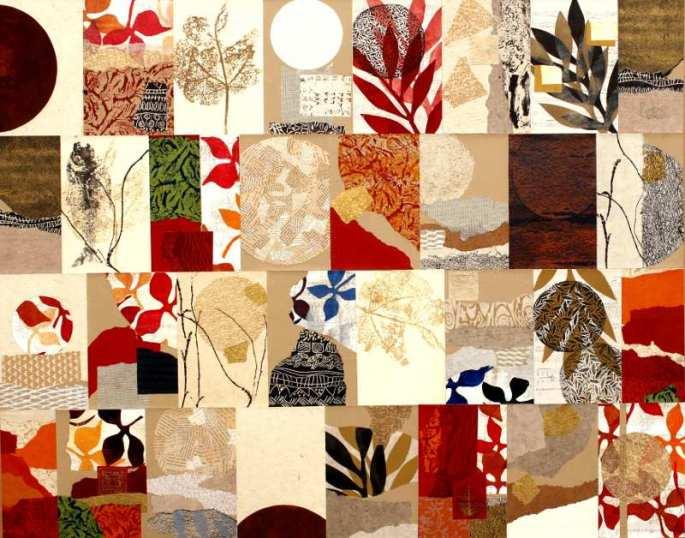 Des jours et des Lunes - 120 x150 - Gravure sur bois zinc et rhénalon, acrylique, empreintes végétal