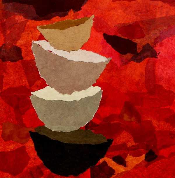 Vendu - L'envol - 100 x 100 - Peinture à l'encre sur papier soie paille, papier d'hymalaya