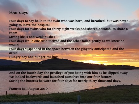 This is an image of a sunset with the words of a poem superimposed on it. The poem follows in the text of the post