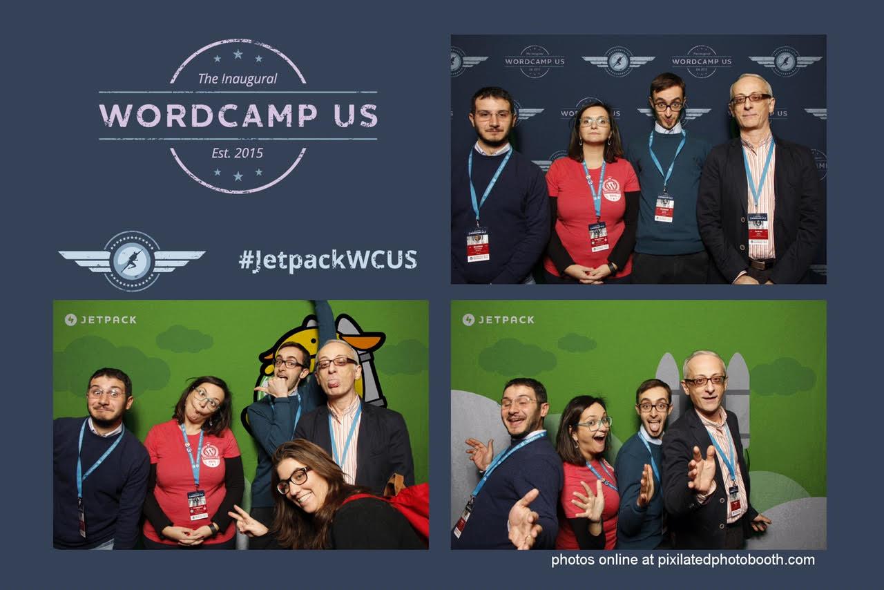Andrea, Francesca, Giuseppe, Giustino nel photo booth di Jetpack