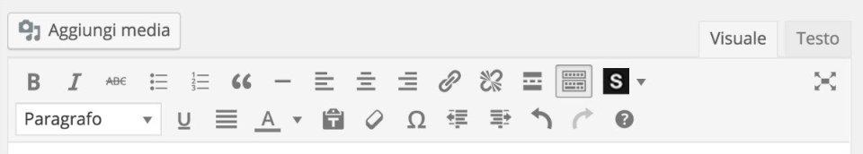 WordPress barra di formattazione