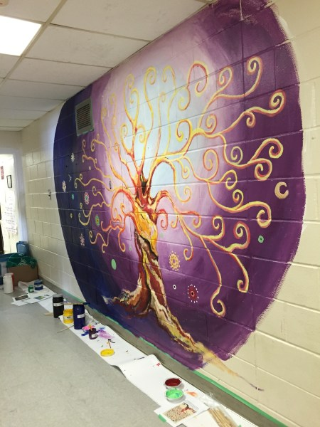 'Grateful Tree' mural commission. 2015. Holy Family Catholic School. Acrylic.