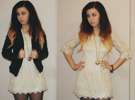 francescasophia wearing an off-white lace shift dress, paired with a a black leather biker jacket, and a gold pendant