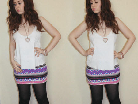 two shots of blogger francesca sophia in the same outfit; wearing a white scalloped missguided vest over a nude strappy new look vest, with a lilac, purple, and dark pink aztec print missguided bodycon skirt, black tights, and brown boots. her hair is down, and curled