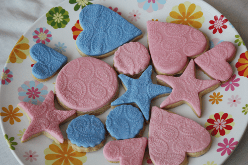 Paisley print embossed vanilla sugar cookies, in pink and blue, and in heart, star, and circle shapes