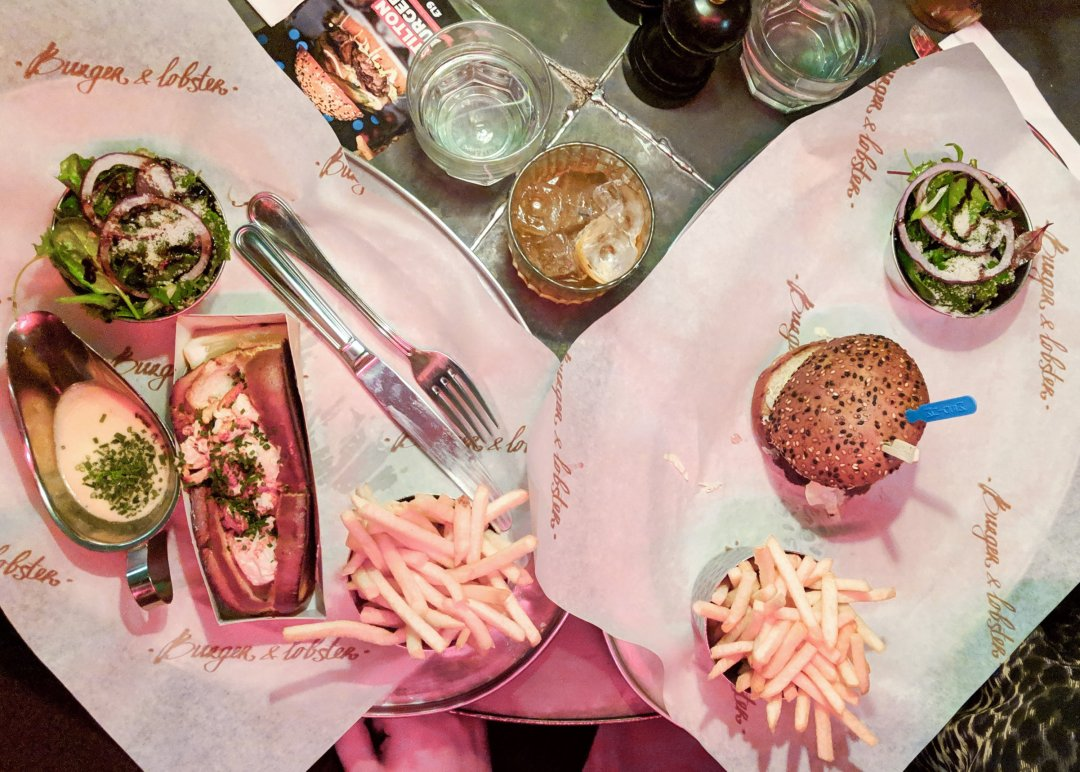 Lobster roll and lobster burger from Burger & Lobster Soho on francescasophia.co.uk