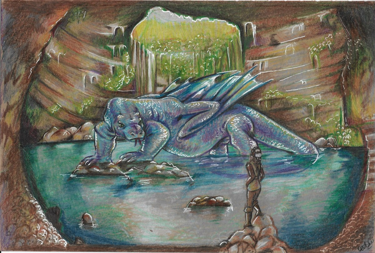artwork of a girl facing large blue dragon, in a cave, from 'The Princess and the Dragon and Other Stories About Unlikely Heroes'