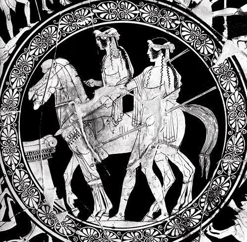 gemelli Dioscuri, Castor e Polydeuces, marciano sulla Maratona per recuperare la sorella rapita Elena da Teseo. I due sono raffigurati come cavalieri armati di lance.