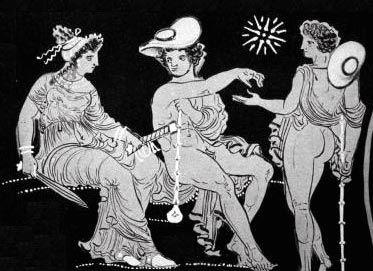 Dettaglio di Nemesis e dei Dioscuri da un dipinto che raffigura il viaggio di Eracle negli inferi. Nemesis, dea della punizione, tiene una spada in una mano e il fodero nell'altra. I gemelli indossano cappelli da viaggio, reggono doghe annodate e sono accompagnati da una stella