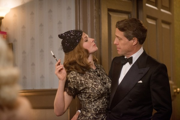 "This image released by Paramount Pictures shows Rebecca Ferguson as Kathleen, left, and  Hugh Grant as St Clair Bayfield in, ""Florence Foster Jenkins."" (Nick Wall/Paramount Pictures, Pathé and BBC Films via AP)"