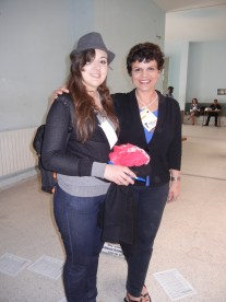 Sandas Suwwah, medical student at Soussa University, Tunisia, with Frances Hasso; 28 March 2013; Manar University; WSF, Tunis
