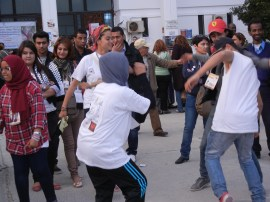 music, rapping, and dancing at WSF; 28 March 2013; photo by Frances Hasso