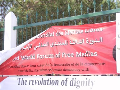 """Freedom of media and expression,"" 29 March 2013, Tunis; photo by Frances Hasso"