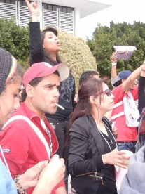 chanting against the government activists; 30 March 2013; Day 5, WSF; photo by Frances Hasso