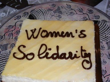 A cheesecake to celebrate with other feminists, Dr. Amel Grami's clever idea; 30 March 2013; photo by Frances Hasso