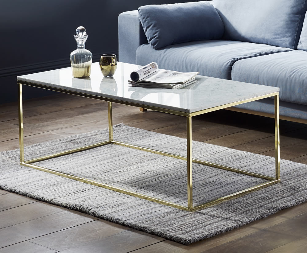 Mulberry Marble And Gold Coffee Table