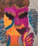 "Metro Maybe-line II, 2013. Acrylic and charcoal on canvas and wood panel, 60"" x 48"" x 3"""
