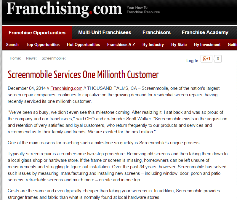 Screenmobile Services One Millionth Customer
