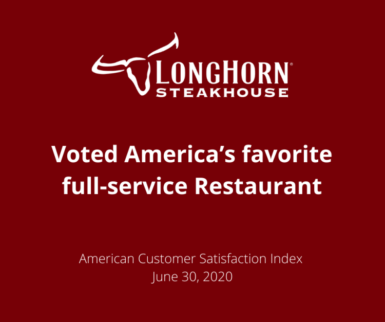 Longhorn steakhouse voted America's favorite full-service Restaurant. American Customer Satisfaction Index.