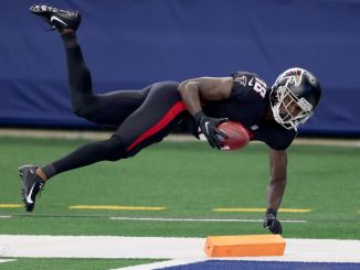 Calvin Ridley falls to the ground
