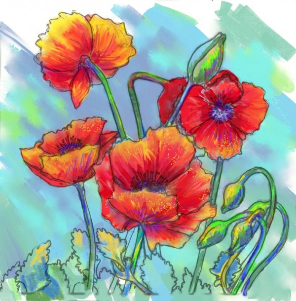 Spring Poppies done with Digital Art