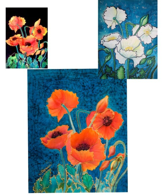 Poppies Done on Silk