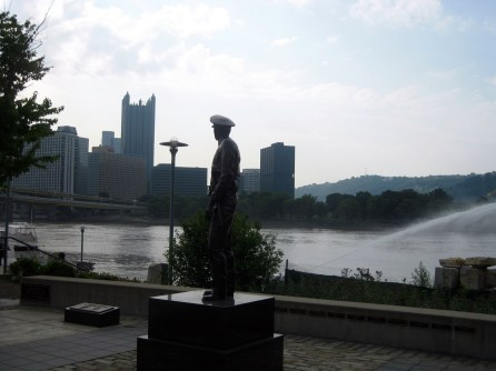 LAW OFFICER OVERLOOKING PITTSBURGH