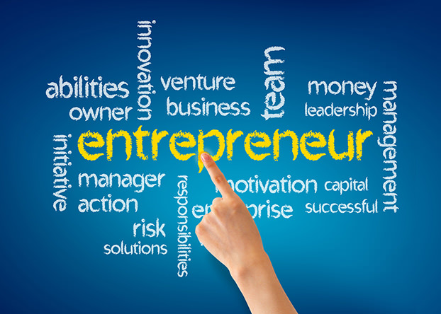Hand pointing at a Entrepreneur word illustration on blue background.