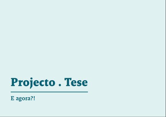Apresentação das primeiras ideias para o projecto final de Mestrado.