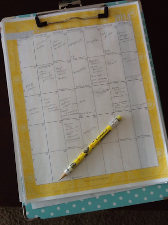 A previous year's meal plan calendar on my trusty clipboard. Make this planner work for you!