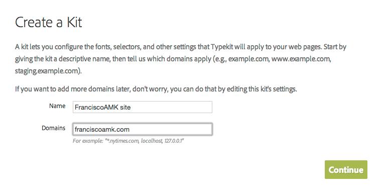 Información del kit Typekit