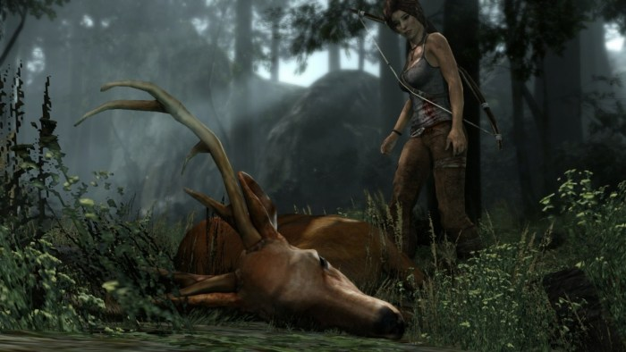 Ludonarrative dissonance - Lara Croft first killing in Tomb Raider
