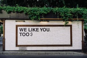 A brick wall that read 'We like you too""