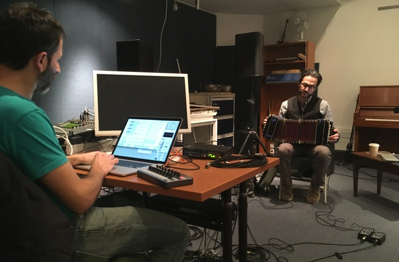 Jonathan Goldman and Ofer Pelz rehearsing for Mesa.