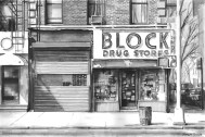 'Block Drug Stores' (SOLD) Pen on paper 2014