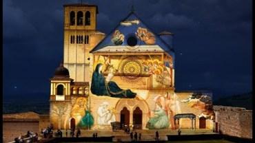 Asyż – iluminacje na Bazylice św. Franciszka
