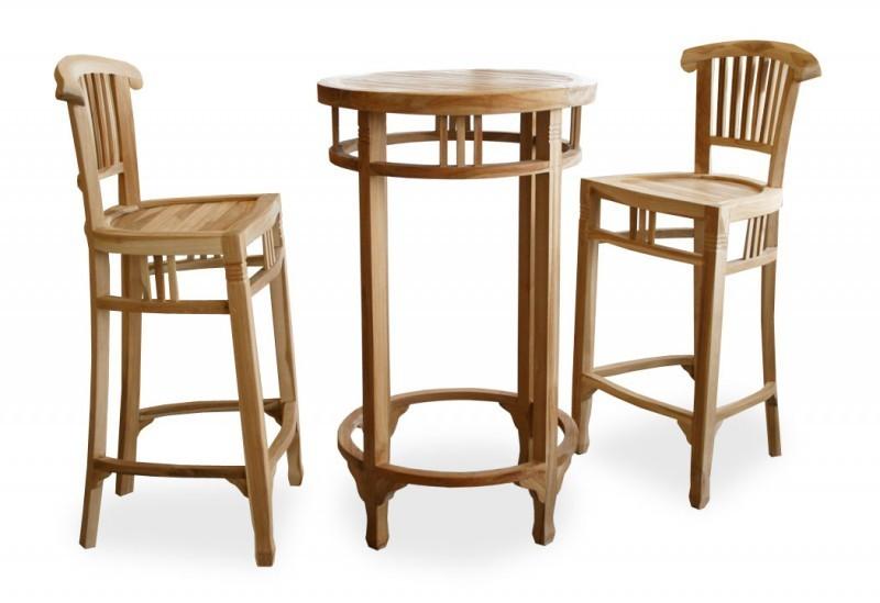2 x tabouret de bar 1 x table de bar haute en teck colonial