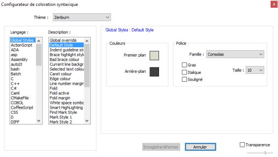 Notepad++ configuration du thème et de la police de caractère