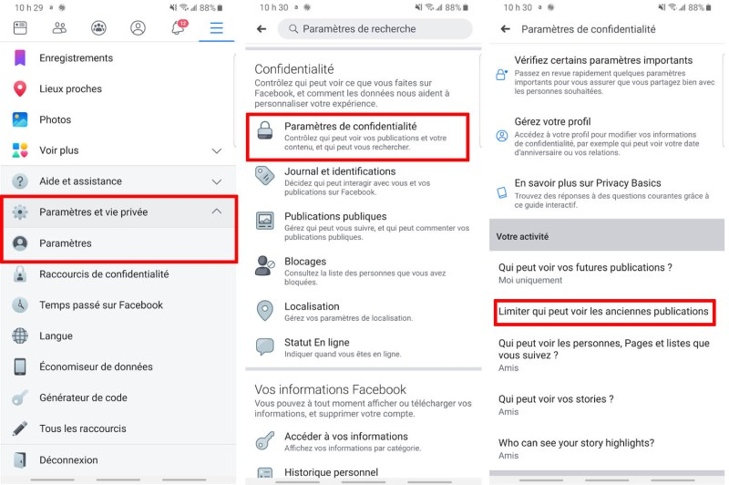 Facebook application comment limiter audience anciennes publications