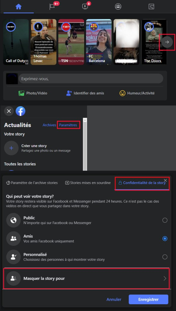 How to hide Facebook story from a computer