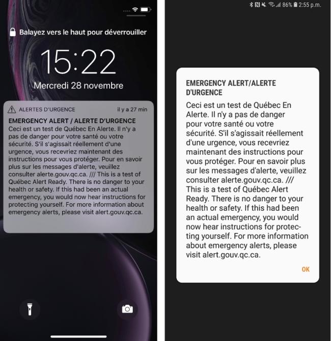 Alertes urgences iPhone Android CRTC Canada