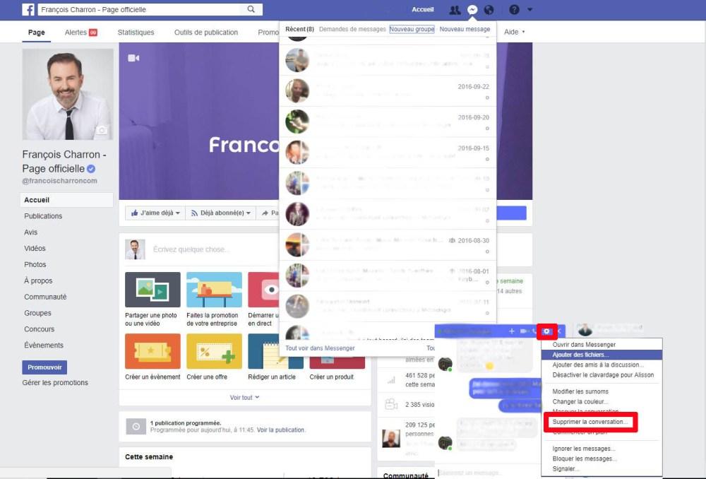Voici la façon de supprimer une conversation messenger de facebook