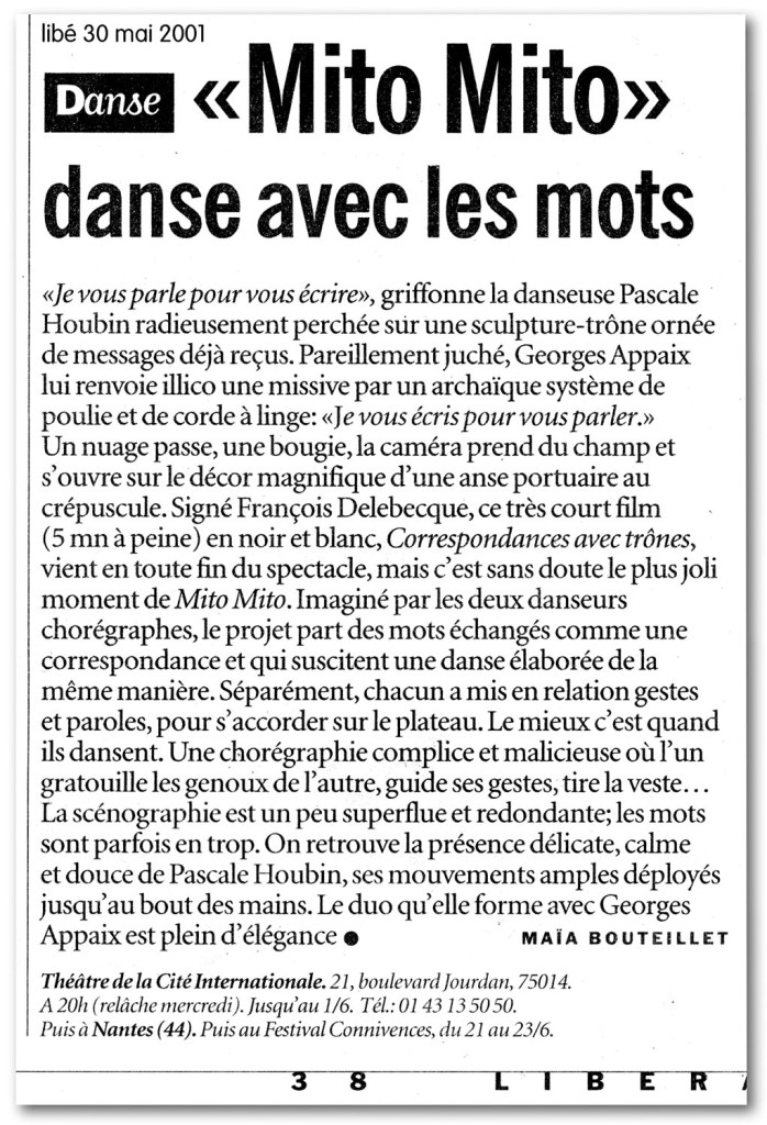 François Delebecque, Libération, 2001
