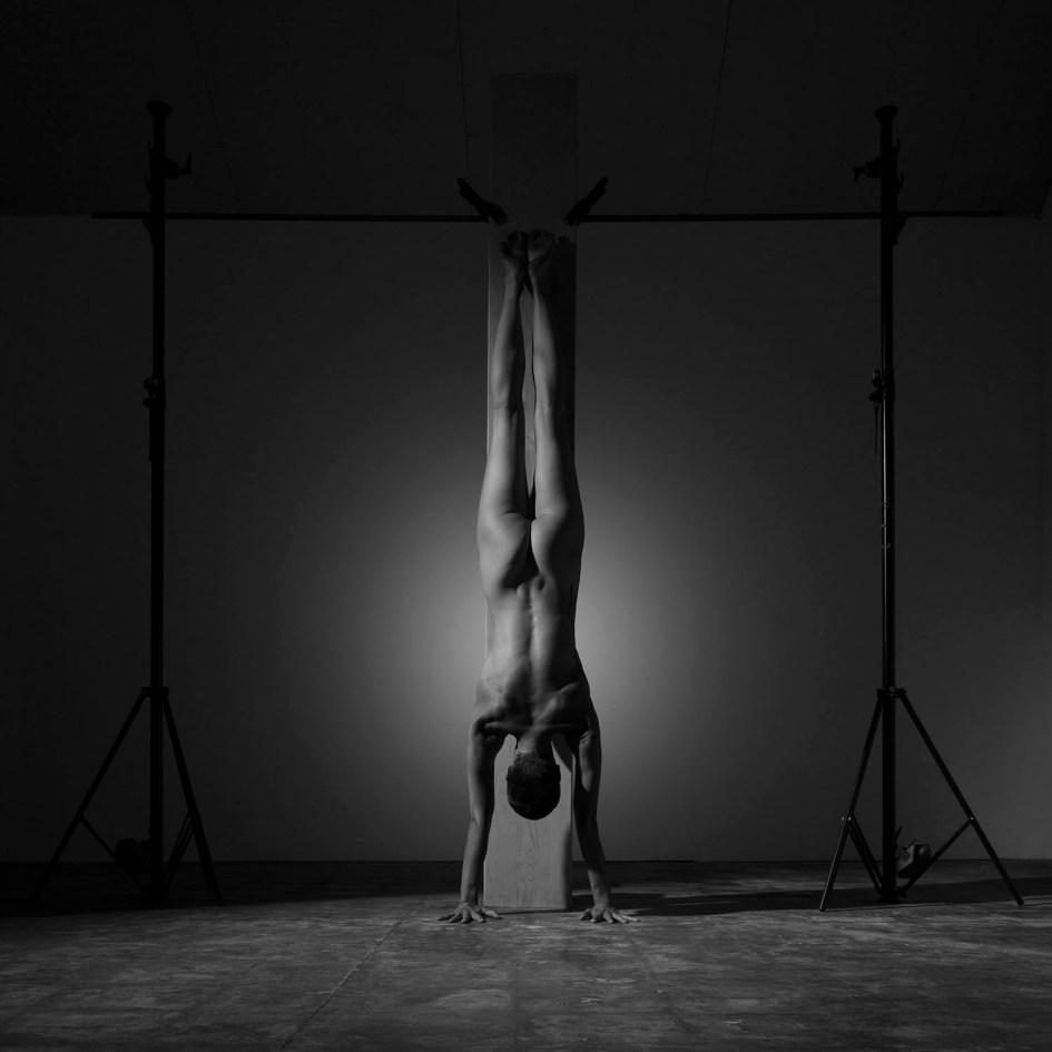 femme, nue, poirier,board, planche