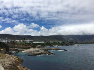 A view of Hermanus, our hotel is the big white building.