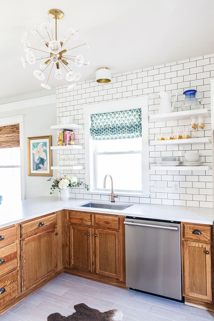 The Before & After of Simple Stylings' Bright & Renovated DIY kitchen.