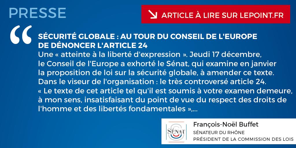 Sécurité globale : au tour du Conseil de l'Europe de dénoncer l'article 24