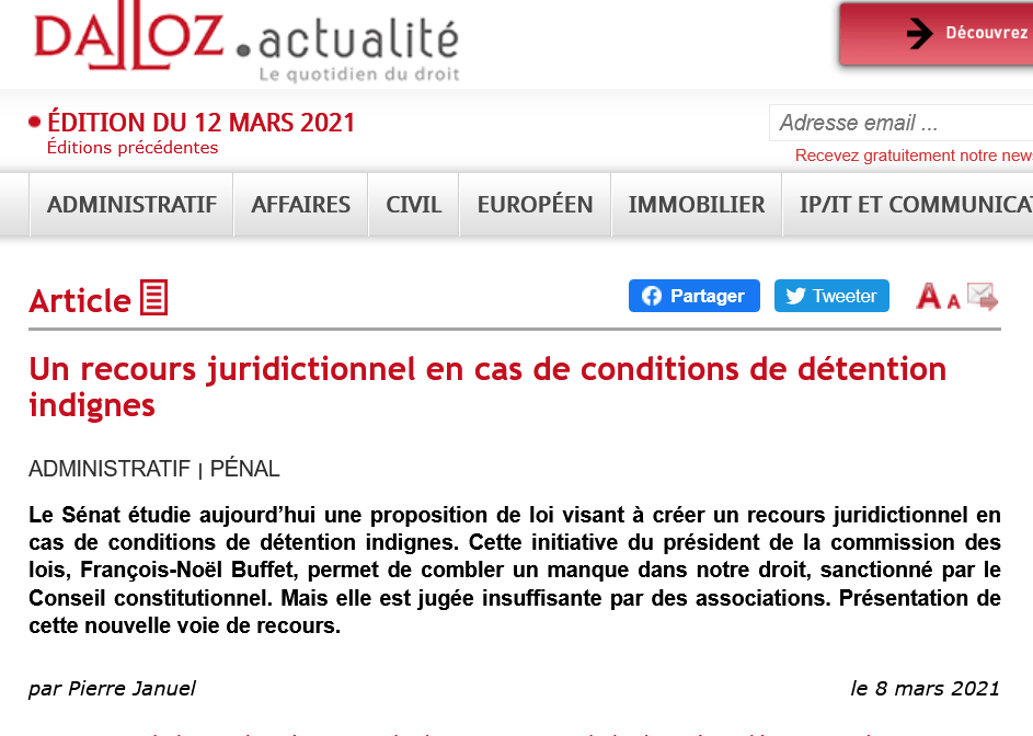 Article du 08/03 sur dalloz-actualite.fr : Un recours juridictionnel en cas de conditions de détention indignes